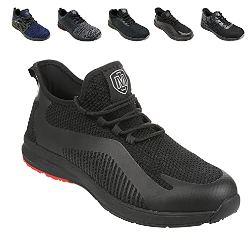Iron Mountain Men's Work and Utility Safety Shoes With Steel Toe Cap and Protective Midsole Workwear Safety Work Safety Trainers S1P SRC, Black/Red Sole, UK 11 / EU 45