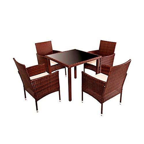 HANNOVER GARDEN Conjunto Muebles de Jardín 5 Piezas Bolivia Rattan - Conjunto de Jardín con Mesa Comedor y 4 Sillas con Cojines - Color Marrón