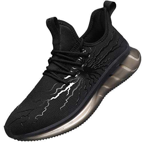 MEI NIAN GUAN Men's Black Sneakers Non Slip Tennis Work Shoes Graffiti Fashion Slip Resistant Athletic Sports Running Casual Walking Gym Workout Shoes(11 TP21Black)