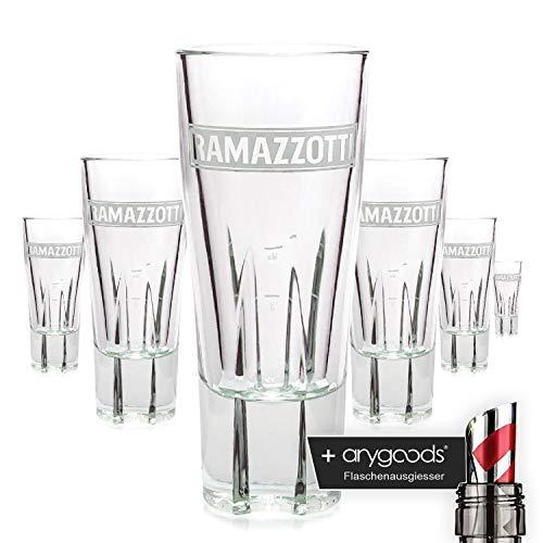 6 x Ramazzotti Glas / Gläser Schnaps Italien Likör + Flaschenausgiesser