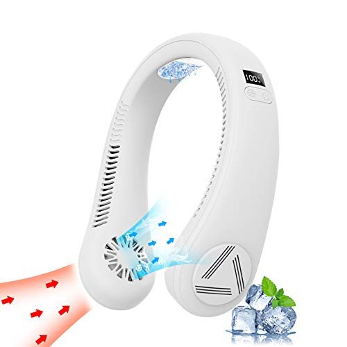 [2021 Upgraded] Personal Air Conditioner Neck Fan with Refrigeration Chip USB Poratble Fan LED Screen Fast Cool 45℉-55℉/ 3 Wind Speeds