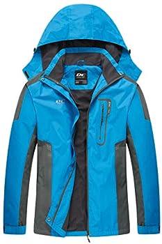 Diamond Candy Waterproof Rain Jacket Women Lightweight Outdoor Raincoat Hooded for Hiking Blue M