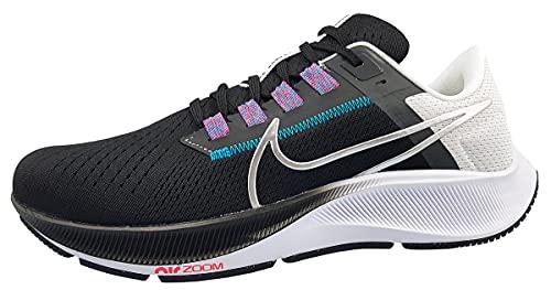 Nike Air Zoom Pegasus 38, Zapatillas para Correr Hombre, Black Mtlc Silver White Chlorine Blue Anthracite Flash Crimson, 40 EU