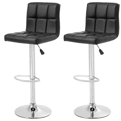 Counter Height Swivel Bar Stools PU Leather Padded with Back,Set of 2 Height Adjustable Counter Stool Barstools Dining Chair,Black
