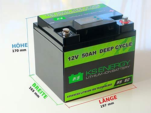 LiFePO4 12V 50Ah Lithium Batterie mit BMS - Versorgungsbatterie für Wohnmobil, Boot, Camping oder Solar