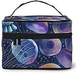 Medusas de pintura al óleo de setas (4) diseño grande bolsa de maquillaje para mujer, estuche cosmético portátil, organizador de viaje con cremallera de malla cepillo de bolsillo con asa chica