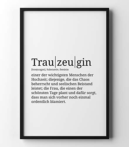 Papierschmiede Definition: Trauzeugin | DIN A4 fertig im Rahmen | Poster mit Worterklärungen wie im Duden für Deine Wanddeko | Kunstdruck im schwarzen Holzrahmen