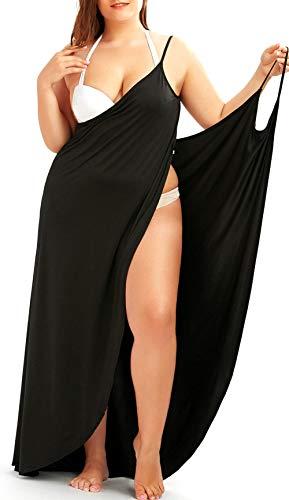 Sommerkleid Damen, Wickelkleid Damen Lang Leicht Multipurpose Multiwear Luftiges Träger Verstellbar Sexy Pareo Schwarz XL