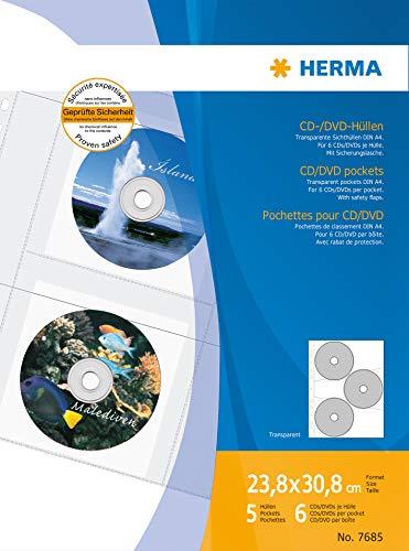 Herma 7685 DVD CD Hüllen transparent, Kunststoff (für max. 30 CD DVD, 6 Stück je Hülle) 5 Sichthüllen DIN A4, beidseitig befüllbar, mit Sicherungslasche u. Eurolochung, für Ringbücher oder Ordner
