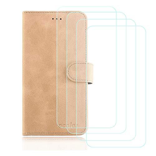 DQG Cover für Oukitel K8000 Hülle, Flip PU Ledertasche Handyhülle Wallet Tasche Schutzhülle Hülle mit Card Slot & Ständer + [4 Stück] Panzerglas Schutzfolie für Oukitel K8000 (5.5