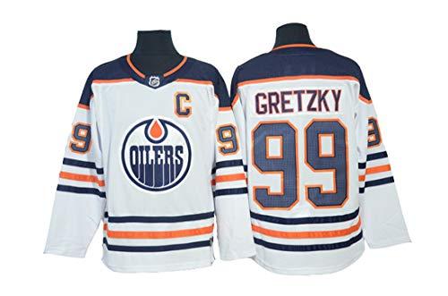 Gretzky # 99 Hockey Trikot Edmonton Oilers Hockey Genähte Buchstaben Zahlen NHL Eishockey Trikot,White,L