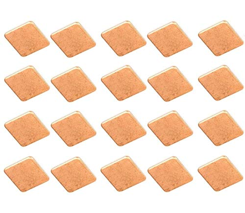 Easycarga 20pcs disipador de Calor Cobre Pad Shims 15x15mm+ 3M 8810 térmica conductiva Cinta Adhesiva en el disipador de Calor para refrigerador GPU CPU Chips VGA RAM portable