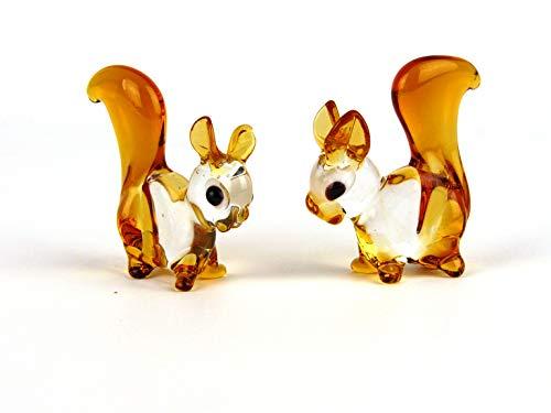 Eichhörnchen aus Glas, Glastier, Glasfiguren 2 Stück, Lauscha, Handarbeit, kristall/braun