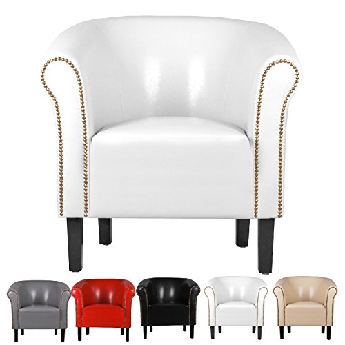 Fortisline Fauteuil crapaud MONACO simili cuir blanc W287 01