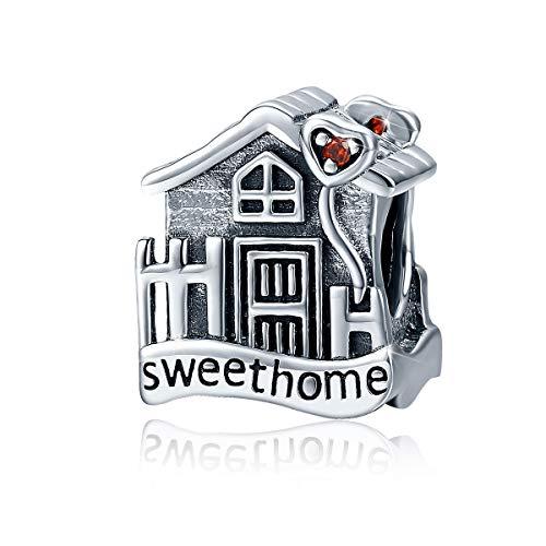 Charm a forma di casa in argento Sterling 925, compatibile con braccialetti e collane Pandora
