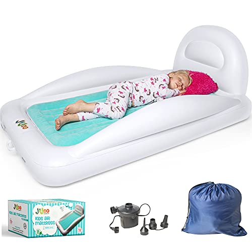 Inflatable Toddler Travel Bed, Multi-Purpose Portable Kids Air Mattress for Travel, Camping or Hotels w/ Built in Safety Bumpers & Backrest Includes High Speed Pump, Toddler Couch, J&Joo