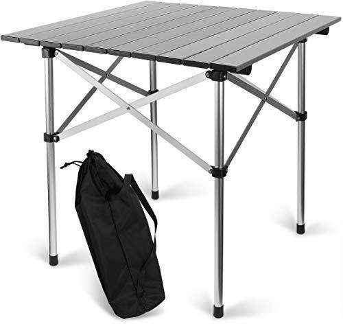 Storfisk fishing & more Aluminium Campingtisch zerlegbar, klappbar inkl. Tragetasche, quadratisch, Höhe: 58 cm, Tischplatte aus stabilen Aluprofilen, Gewicht unter 2 kg