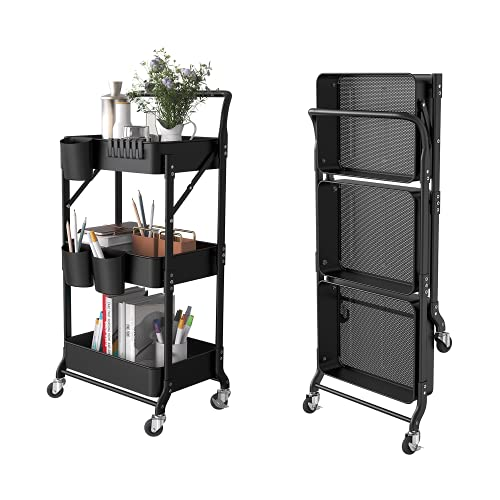 DTK 3 Tier Foldable Metal Rolling Cart, Metal Trays Utility Cartwith Handle and Wheels, 3 Hanging Cups and 6 HooksStorage Organizer Cart, CollapsibleKitchenCartfor Bathroom Office Kitchen(Black)
