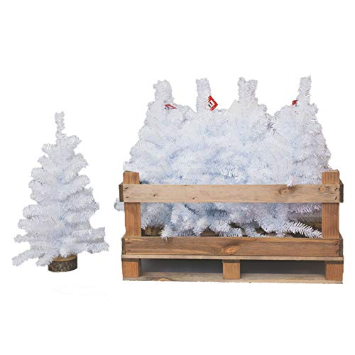 Pinetto Alaska Completamente Bianco innevato 60 cm Albero di Natale con Base Legno in PP+PVC | Mini Alberello di Natale Artificiale con Base in Legno con Neve