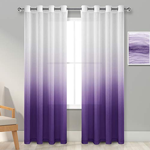 Hiasan Purple Ombre Sheer Curtains 84 Inches Long - Faux Linen Gradient Voile Grommet Window Curtains for Bedroom and Living Room, 2 Drape Panels