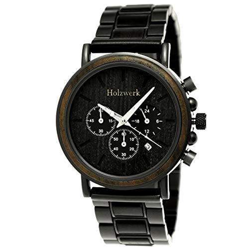 Holzwerk Germany, orologio da uomo realizzato a mano, in legno naturale, con cronografo, orologio analogico al quarzo, marrone e nero, quadrante in legno
