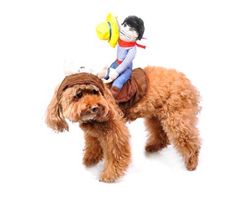 Disfraz para mascota con arnés y con un cobwoy, viene con gorro, de la marca DSstyles