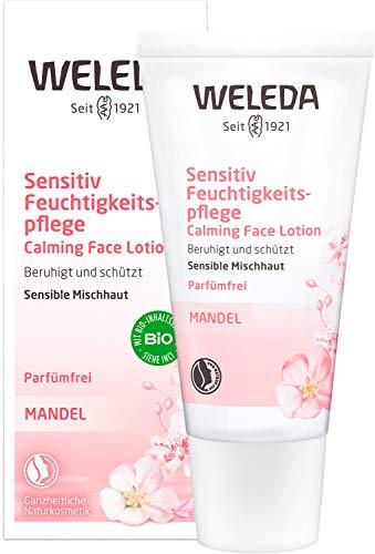 WELEDA Mandel Sensitiv Feuchtigkeitspflege, Naturkosmetik sanfte und unparfümierte Gesichtscreme für sensible Mischhaut im Gesicht und am Hals für einen gesunden Teint (1 x 30 ml)