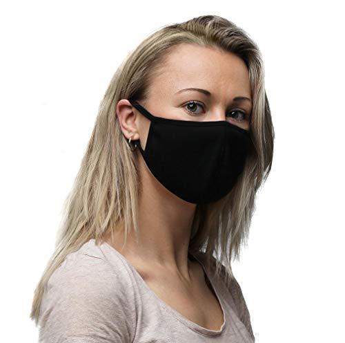 ImmerGlück - Accessori per la cura del viso (3 pezzi), traspiranti, riutilizzabili, lavabili ed elastici, colore: Nero Nero  M