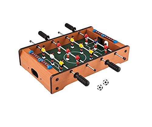 tec tavakkal 100% orignal wooden mid-sized foosball, mini football, table soccer game, 4 rods length 51cm , width 31cm, hight 10.5cm-Multi color-Pack of 1