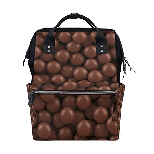 ALINLO Yummy Chocolade Bonen Patroon Luiertassen Mummy Tassen Grote Capaciteit Multi-Functie Rugzak voor Reizen