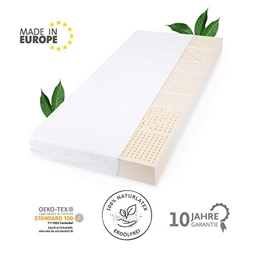 JONA SLEEP Natur-Latex Matratze 80 x 200 cm Base Öko-Tex...