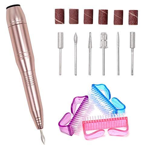 Elektrisches Maniküre-/Pediküre-Set, Elektrische Nagelfeile Nagelfräser mit 6 Nagelpflege-Aufsätzen und 3 Bürsten-EINWEG