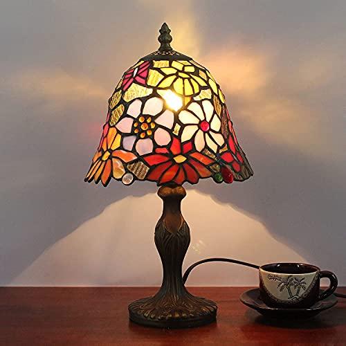 8 ' Lámpara de escritorio Lámpara de mesa Vintage Romántico Tiffany Retro Diseño de flores antiguas Luz de mesa Nostálgico Pantalla de vidrio Lámpara de trabajo para Oficina Sala de estar Dormitorio