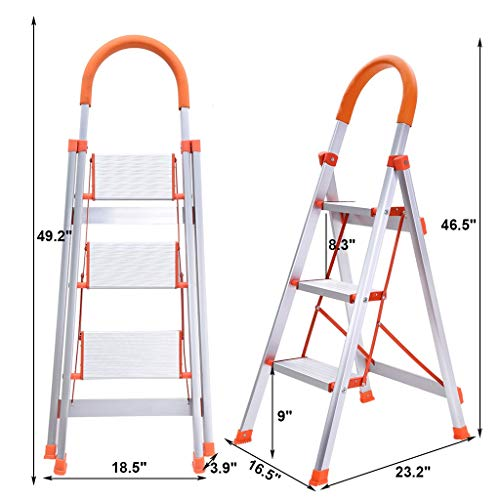 Mostbest 3 Step Multi-Use Ladder Folding Step Stool Stepladder with Handgrip Anti-Slip Sturdy and Wide Pedal Portable Steel Ladder 330lbs