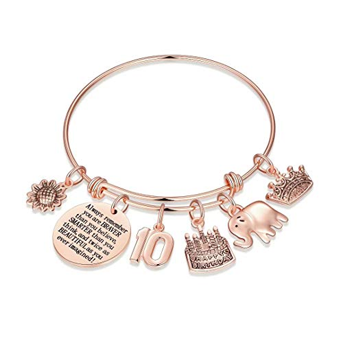 10th Birthday Gifts for Girls, Sweet 10 Gifts Turning 10 Year Old Girl Gift for Birthday Bracelet Elephant Gifts Jewelry, Inspirational Birthday Gifts for Girls Age 10 Daughter Granddaughter Kids
