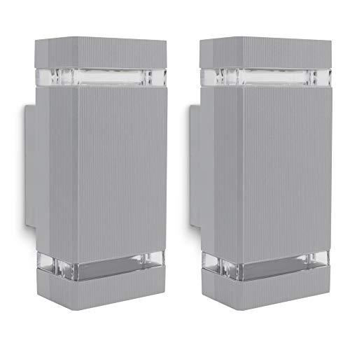 SSC-LUXon 2er Set SELA Außenleuchte Wand Up & Down für 2x GU10 - Wandleuchte grau Außen IP54 für Hauswand, Fassade & Garten