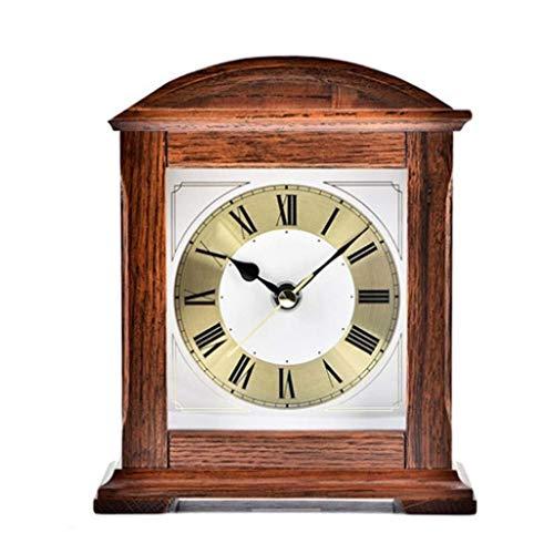 LFSP-batterij werkt Roman Bell-vormige Klok Shelf Eikenfineer Retro Fashion Clock Houten klok met een slinger Haard Silent batterijvoeding