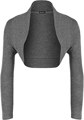 WearAll, Damen-Bolero-Strickjacke, langärmelig, Größen 34-40 Gr. 42-44, dunkelgrau