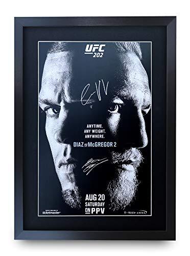 HWC Trading A3 FR UFC 202 Programm Poster Conor McGregor Nate Diaz signiertes Geschenk gerahmt A3 gedrucktes Autogramm MMA Wrestling Geschenke Druck Foto Bild Display