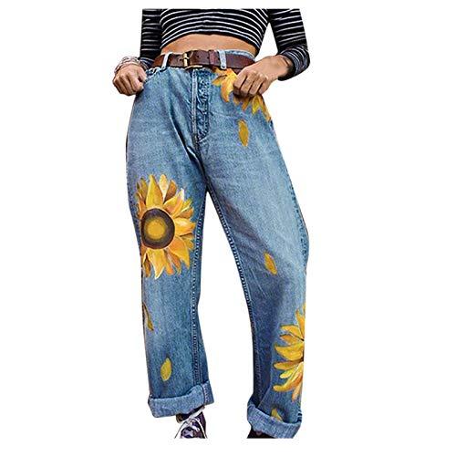 LianMengMVP Neu Damen Jeans Boyfriend High Waist Jeanshose Skinny Fit Sonnenblume Print Jeans Locker Lang Boyfriend Jeans Frauen Bedruckte Denim Lange Hose mit weitem Bein Straight Jeans