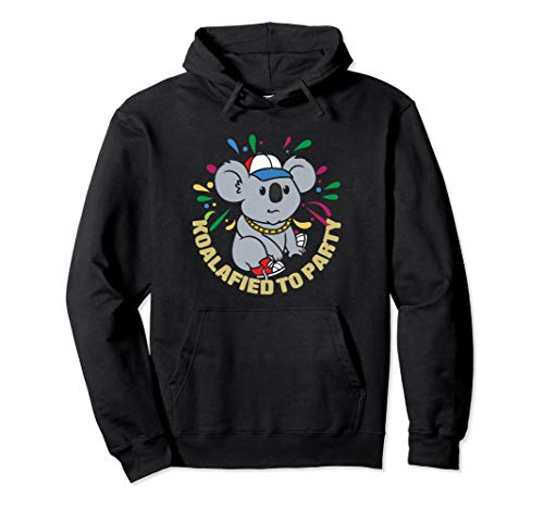 Koalafied To Party - Funny Koala Animal Pun Party Gift Pullover Hoodie