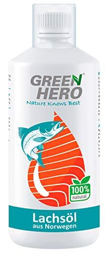 Green Hero Premium Lachsöl aus Norwegen 1 Liter für Hunde, Katzen und Pferde - Fischöl reich an Omega 3 und 6 Fettsäuren - Barf Zusatz - Lachs-Öl auch für Welpen und Jungtiere