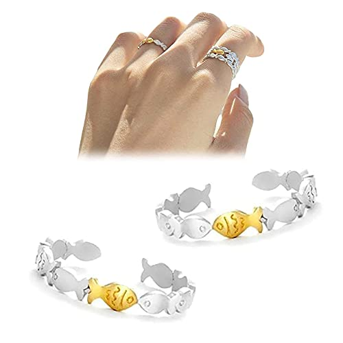 WENLIANG Double-Color Fish Ring Swimming Against The Current Rings Lovely Little Fish Rings Animal Open Adjustable Rings Lucky Jewelry Gift (A2PCS)