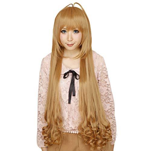 Perruque cosplay longue perruque frisée ondulée marron clair HOOLAZA 100Cm Dragon Tiger Aisaka Taiga Cosplay perruque