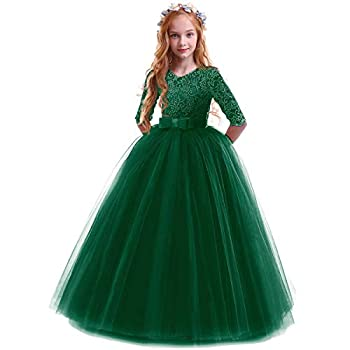 IBTOM CASTLE Girls Embroidery Tulle Lace Bridesmaid Dress Long A Line Wedding Pageant Dresses Birthday Party Formal Dance Evening Gown Dark Green 5-6 Years