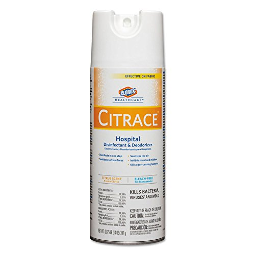 Clorox 49100 Citrace Hospital Disinfectant and Deodorizer Aerosol Spray, 14oz, Pack of 12