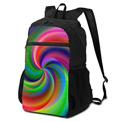 JOCHUAN Daypack Hiking Men Candy Sweet Chakras Spiral Colorful Meditating Packable Backpack Lightweight Casual Travel Daypack for Teens Lightweight Waterproof for Men & Womentravel Camping Outdoor