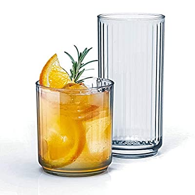 16pc - Classic Line Textured Optic Design Highball Drinking Glasses - Tumbler Drinkware Set of 8-16oz. Coolers & 8-10oz. OTRs