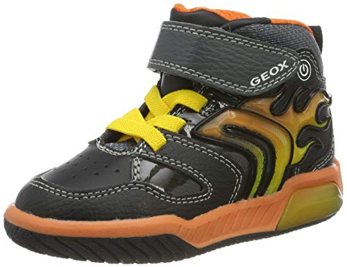 Geox J INEK Boy C Sneaker, Black/Orange, 32 EU