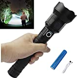 Rechargeable Led Flashlight High Lumens, 90000 Lumens Super Bright Flashlights, Powerful Tactical Flashlight with Batteries Included, Zoomable, 3 Modes, Waterproof Flashlight for Emergencies, Hunting